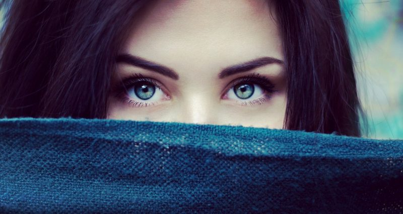A woman with beautiful eyes looking into the camera