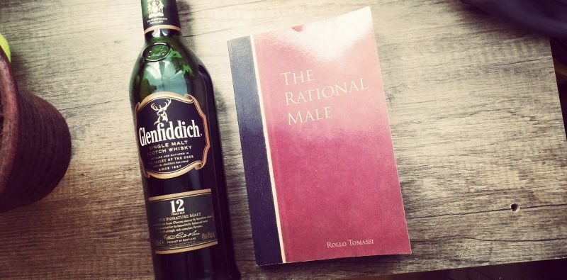 The Rational Male book summary with a glenfiddich whiskey