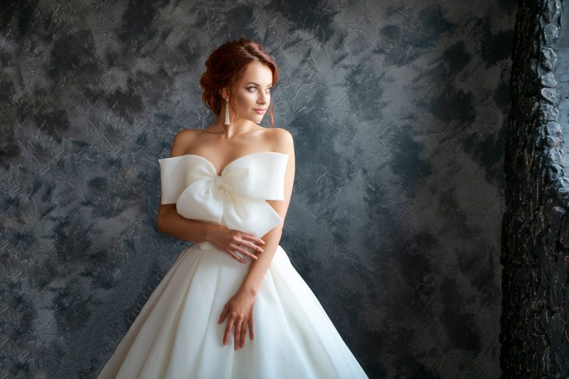 beautiful bride in wedding dress, beautiful make-up and styling