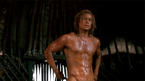 Brad Pitt Achilles sexy body women go crazy for