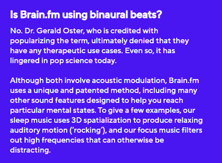 brain.fm stating that they dont actually use binaural beats. It is audio modulation which is much better