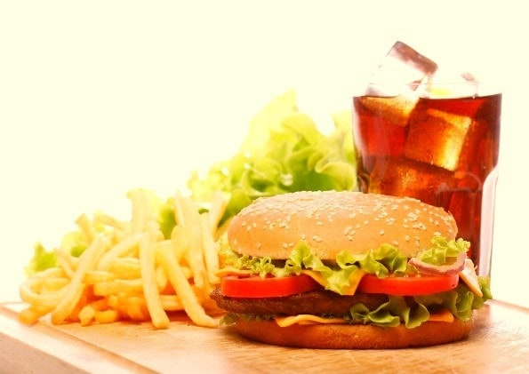 A burger, fries, and a coke