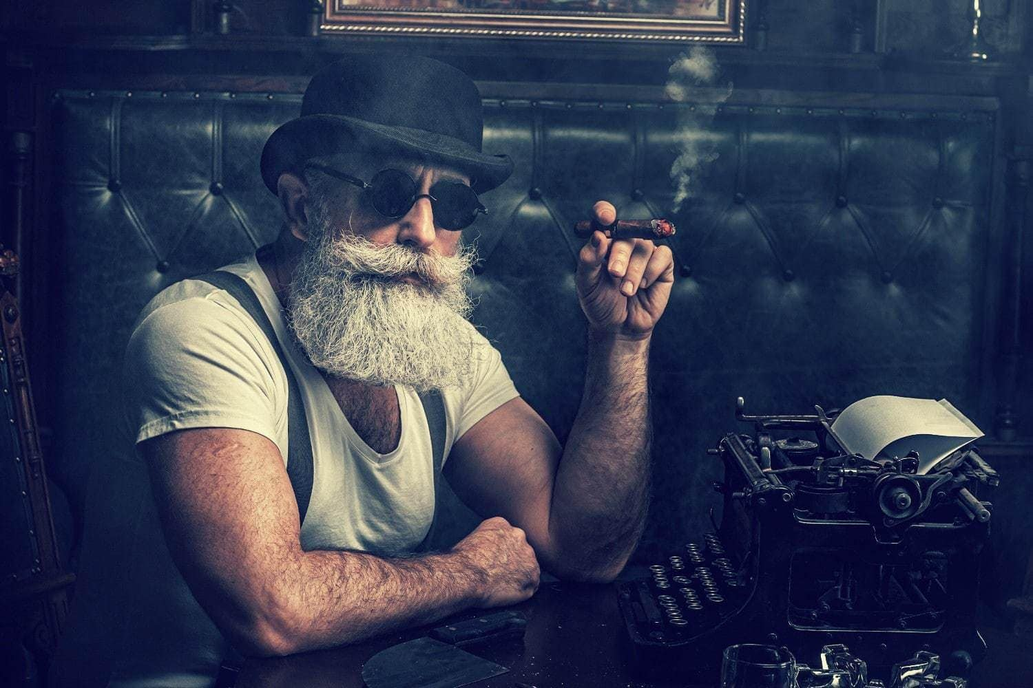 Gorgeous old man with beard and cigar masculinity