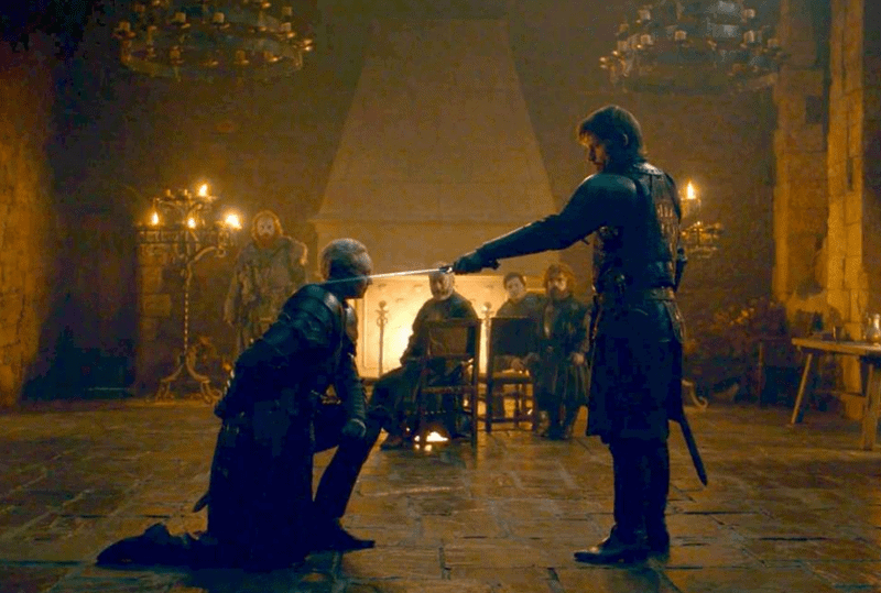 The knighting scene from Game of Thrones season 8 when Jamie Lannister knights Brienne of Tarth