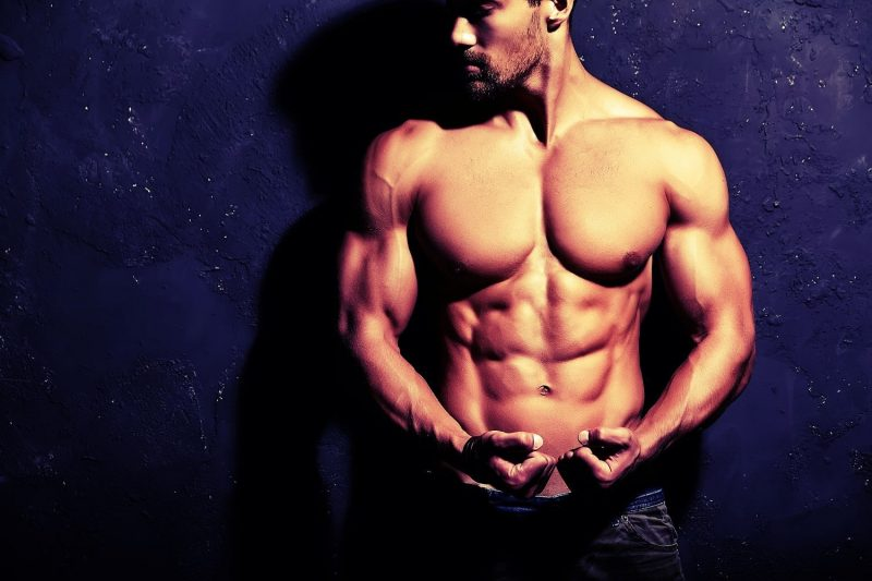 Man with six pack abs and great body bodybuilding