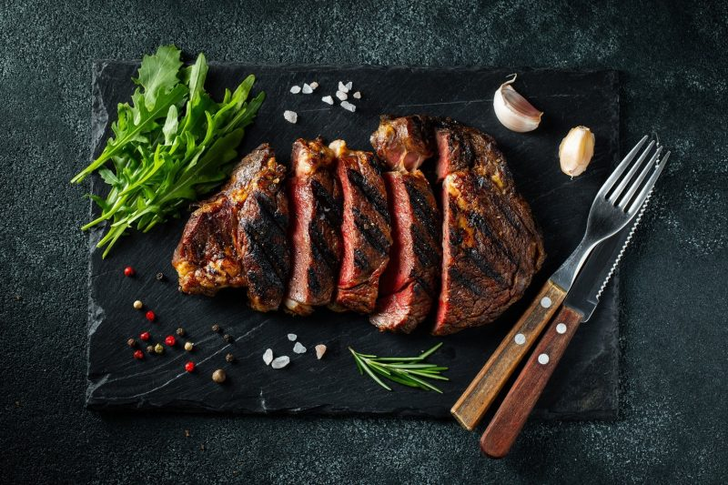 Tasty looking grilled ribeye steak