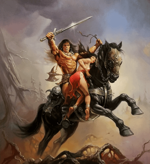cartoon of a conqueror riding a horse with a beautiful woman red dress