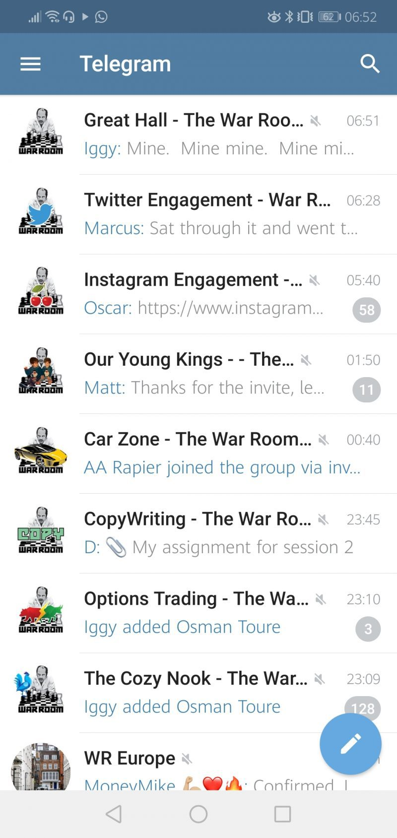 A screenshot of the War room review in Telegram.