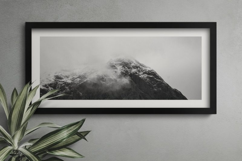 Picture Frame with foggy mountain