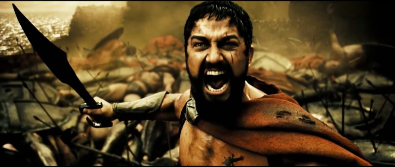 King Leonidas from the movie 300 screaming