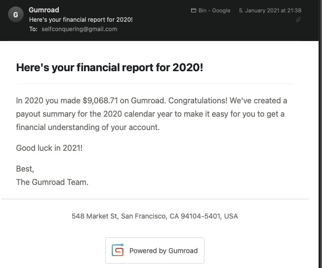 Selfconquering gumroad revenue for 2020