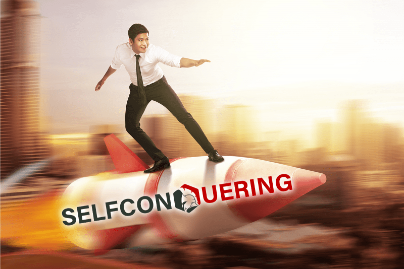 business man flying rocket selfconquering