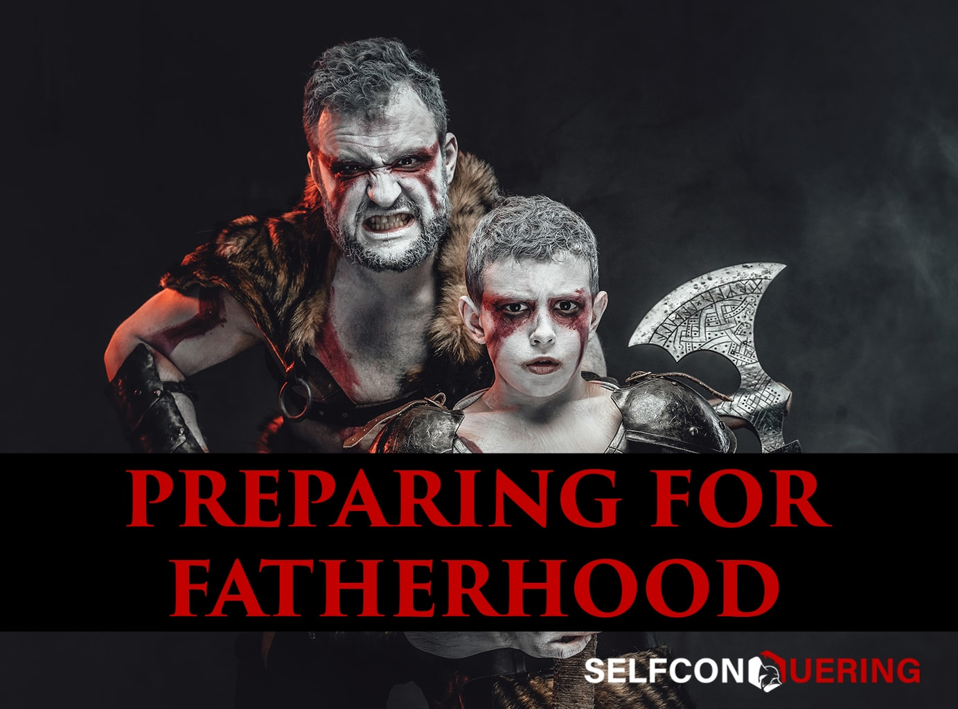 preparing for fatherhood son and father viking war axe